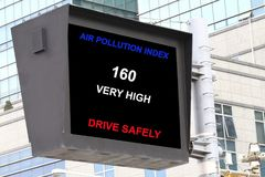 Air pollution index API. Air pollution index in a roadsign electronic screen- many uses in environment and pollution control Stock Image