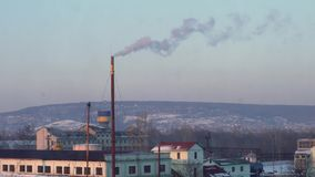 Air Pollution From Industrial Plants. Large Plant on the Background of the City. Pipes Throwing Smoke in the Sky stock video