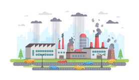 Air pollution - modern flat design style vector illustration. On white background. A composition with a big factory making hazardous substances emissions, cars stock illustration