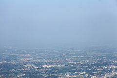 Air pollution. In the northern of Thailand, grey smoke cover the town royalty free stock images
