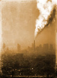 Air pollution from old factory Royalty Free Stock Images