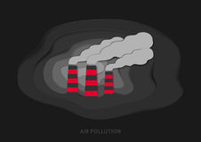 Air pollution paper art vector illustration. Fumes from industrial pipes pollute environment graphic design. Ecological problems with toxic atmosphere creative Royalty Free Stock Photos