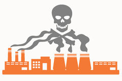 Air pollution. Plant with smoke in the shape of the skull Stock Images