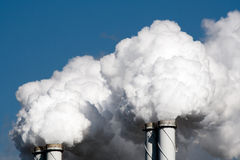 Air pollution power plant. Air pollution from power plant chimneys Stock Photo