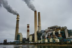 Air pollution. In power plant in Florida, USA Royalty Free Stock Photo