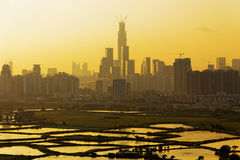 Air pollution scenic in. Countryside with building, rice field and yellow smoke in hong kong city at sunset royalty free stock photo