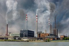 Air pollution and smog concept. Factory is producing toxic smoke.  royalty free stock photos