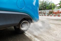 Air pollution from vehicle exhaust pipe.  Stock Images