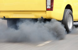 Air pollution from vehicle exhaust pipe Royalty Free Stock Photography