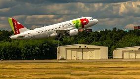 Air Portugal, Airbus A319. Berlin, Germany, 01.07.2018: Air Portugal Airbus A319 aircraft flying out of Tegel Airport stock photo