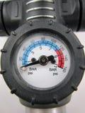 Air pressure gauge. Close up of air pressure gauge from a bicycle pump Stock Image