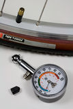 Air Pressure Gauge and Bicycle Tire Stock Photos