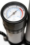 Air Pressure Gauge (Close View). Close view on an air pressure gauge of an air pump Royalty Free Stock Images