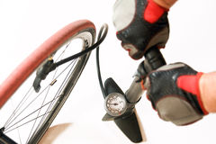 Air pump with bicycle Stock Photography