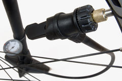 Air pump with bicycle Stock Photo