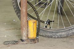 Air pump and bicycle tire. stock image