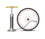 Air pump with bicycle wheel Stock Image