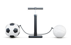 Air pump and sport balls  on white background. 3d render Stock Photo