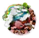 Air pur et mélange pollué de la terre illustration de vecteur