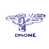 Air Quadrocopter Logo Icon de vol de bourdon Image stock
