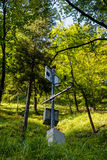 Air Quality Measuring Station in Forest. Air Quality Measuring Station in Sunlit Forest royalty free stock images