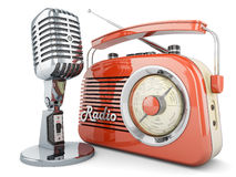On air. Radio microphone retro vintage fm broadcasting interview transmitter Stock Photos