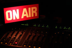 On Air Radio Studio Horizontal. On Air sign in a studio broadcasting via radio, podcast or wireless transmission