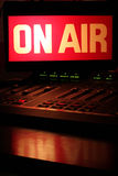 On Air Radio Studio Vertical. On Air sign in a studio broadcasting via radio, podcast or wireless transmission stock photography