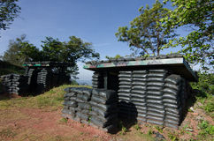 Air raid shelter. Air-raid shelters, also known as bomb shelters, are structures for the protection of non-combatants as well as combatants against enemy attacks Stock Photo