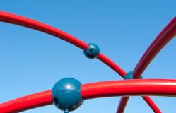 Air red play lines with three blue balls for child in a italian. Air game for children at the commun playground in the sky Stock Image