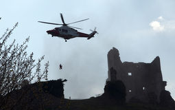 Air Rescue at Corfe Castle Stock Photo