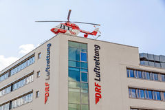 Air rescue helicopter Luftrettung, Germany, german. Stuttgart, Germany - April 29, 2017: Air rescue helicopter DRF Luftrettung near airport Stuttgart royalty free stock photo