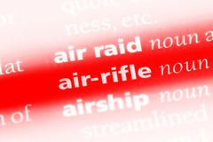 Air-rifle. Word in a dictionary.  concept Stock Photo