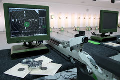 Air rifle and 10m target monitor Stock Image