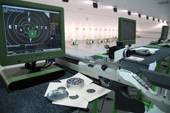 Air rifle and 10m target monitor Stock Photos