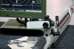 Air rifle and 10m target monitor Royalty Free Stock Photos