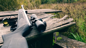 Air rifle with telescopic sight. For sport hunting Royalty Free Stock Photo