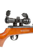 Air rifle with a telescopic sight and a wooden butt Royalty Free Stock Photos