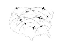 Air routes with black plane icons on USA map Royalty Free Stock Photography