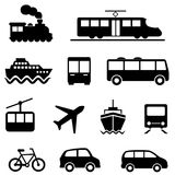 Air, sea, land and public transportation icons. Air, sea, land and public transportation icon set Stock Photo