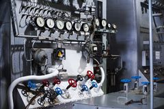 Air separation plant. Liquid gas factory. Control panel. Pipes and valves. royalty free stock photos