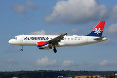 Air Serbia Airbus A320 airplane Zurich airport Royalty Free Stock Image