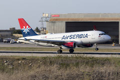 Air Serbia touching down Royalty Free Stock Images