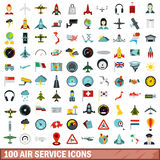 100 air service icons set, flat style. 100 air service icons set in flat style for any design vector illustration Stock Image