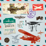 Air vector set. Set of vintage illustrations on the theme of air travel Stock Image