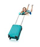 Air hostess flying with her bag Stock Photos