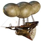 Air ship. 3D render of a fantasy air ship