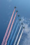 Air show 079. Six planes tracing sky with the colors of Russian flag on the Victory day Royalty Free Stock Photo