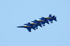 Air show. Fighter jet team in the sky Royalty Free Stock Photo