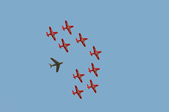 Air show. Acrobatic plane team in the sky Royalty Free Stock Image